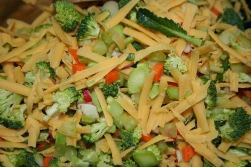 Slaw with Cheddar added