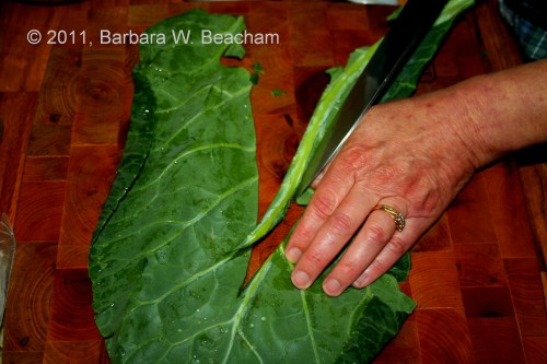Removing the center of the chard