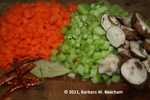 Carrots, celery, mushrooms, bay leaf and chilis are ready