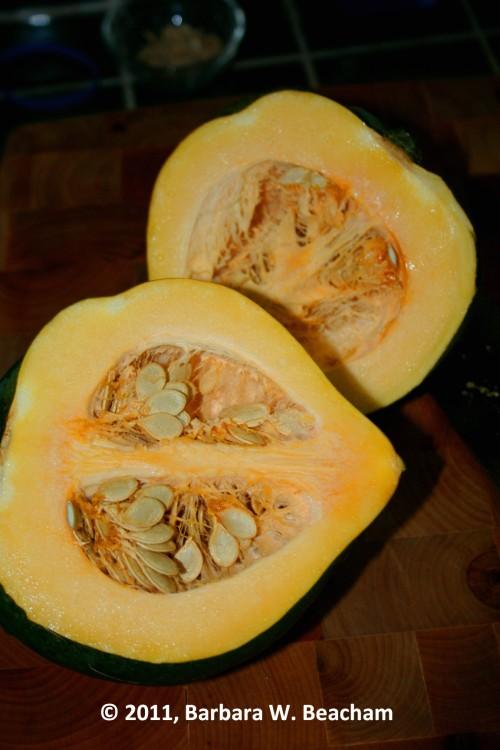 Cut the acorn squash in half
