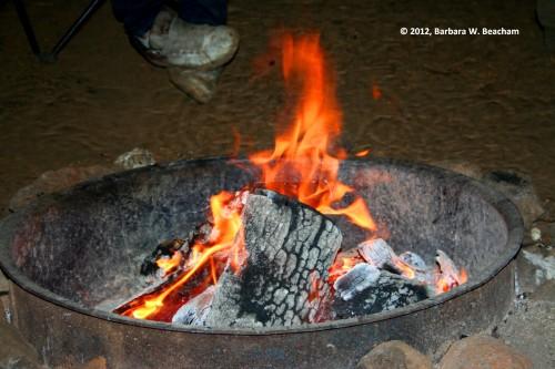 A crackling fire