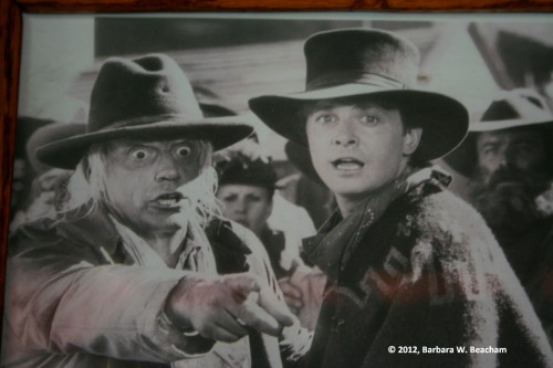 A copy of a photo of Christopher Lloyd and Michael J. Fox from Back to the Future III