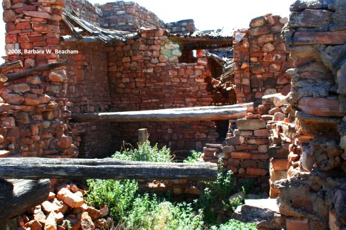 Collapsed roofing and walls