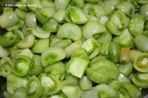 Cut up those green tomatoes
