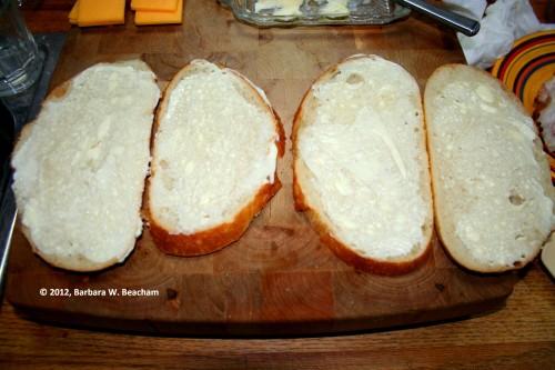 Inside of sandwich is buttered