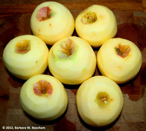 Lovely peeled apples from the orchard