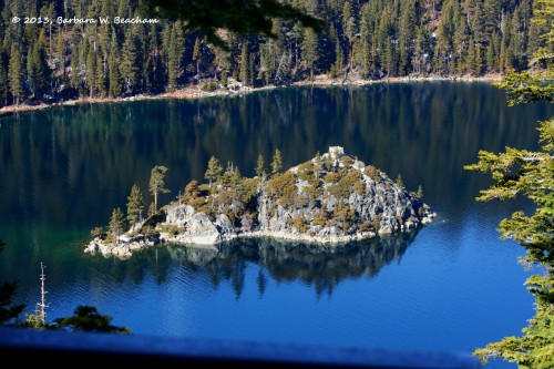 The island in Emerald Bay
