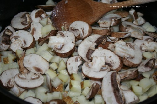 Add the mushrooms and potatoes