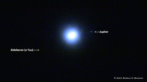 First shot of the moon and Jupiter