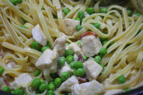 Pasta, peas, bacon and chicken, oh my!