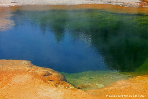 Reflection in a pool in Yellowstone
