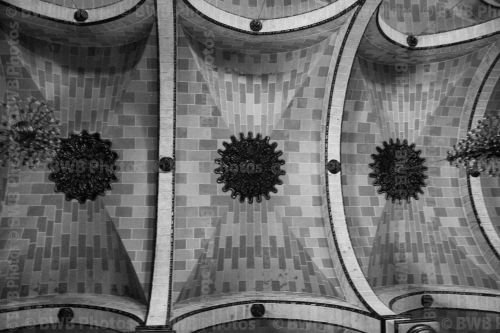 The ceiling in a church