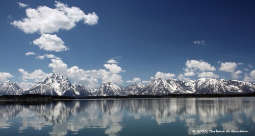 The Grand Tetons from across Jackson Lake
