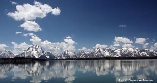 The Grand Tetons from across Jackson Lake
