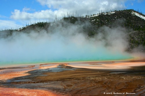 The mountain behind the Grand Prismatic Pool in Yellowstone