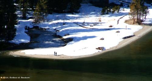 A snow covered beach