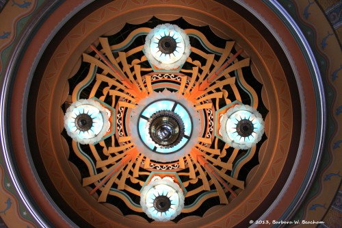 Looking up at the central lighting fixtures