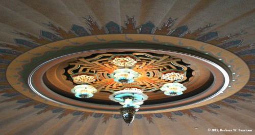 The central lighting inside the ballroom