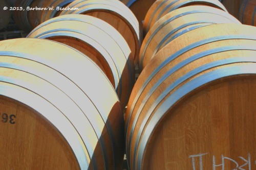 The curve of wine barrels