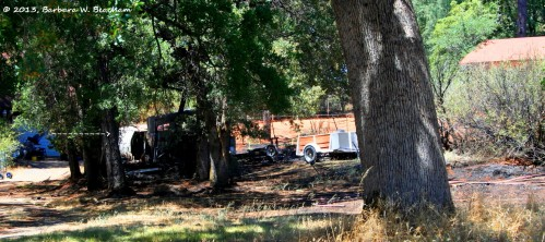 The charred remains of the camper
