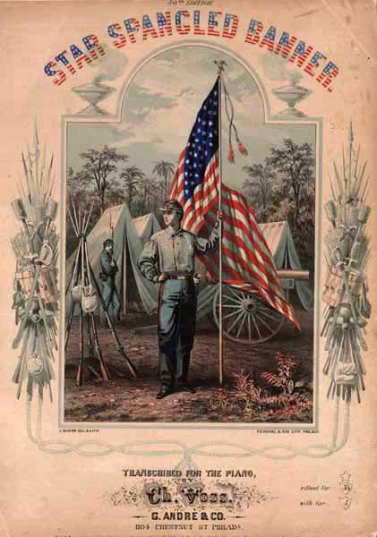 The cover of the music sheet for The Star Spangled Banner