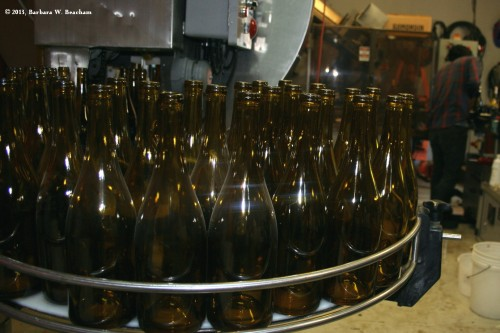 Bottles ready to be filled with wine