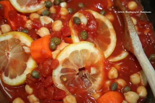Carrots, tomatoes, garlic, garbanzos, lemon, capers and red pepper flakes