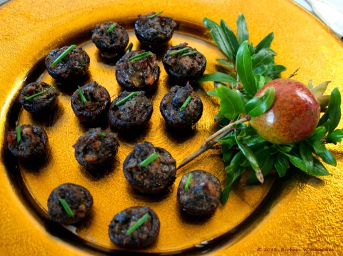 Sausage stuffed crimini mushrooms