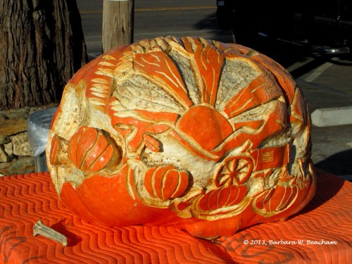 A carved pumpkin
