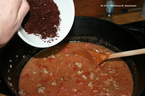 Adding the pure chile powder!