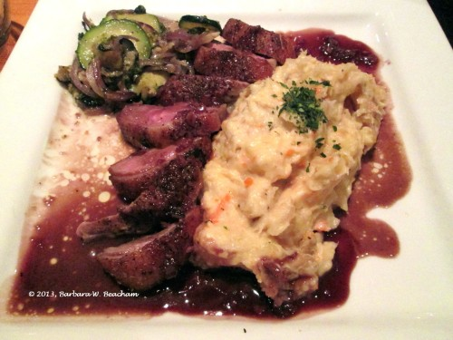 Dinner special:  Roast Duck, with mashed roots and fresh veges