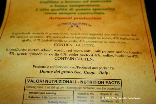 Ingredient list on the pasta
