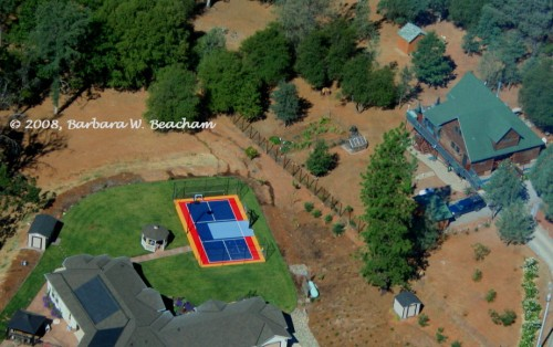 The tennis court from the air