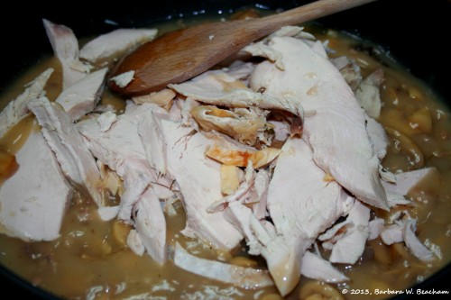 Add in sliced turkey