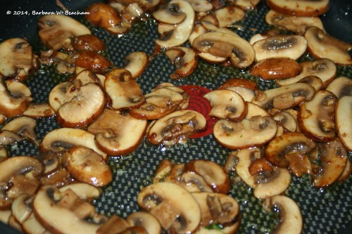 Browned mushrooms