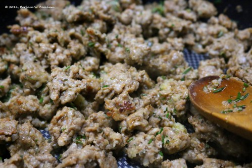 Browned sausage with rosemary and garlic added