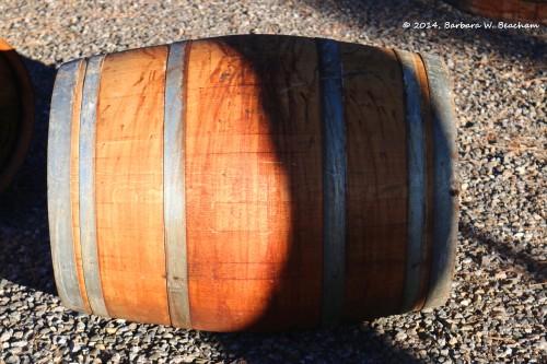 A used wine barrel