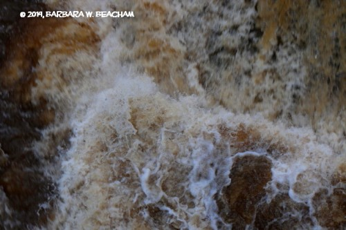 The patterns in rushing water