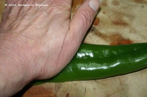 Smash the chile to flatten with the heel of your hand