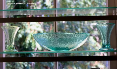 Old glassware on a shelf