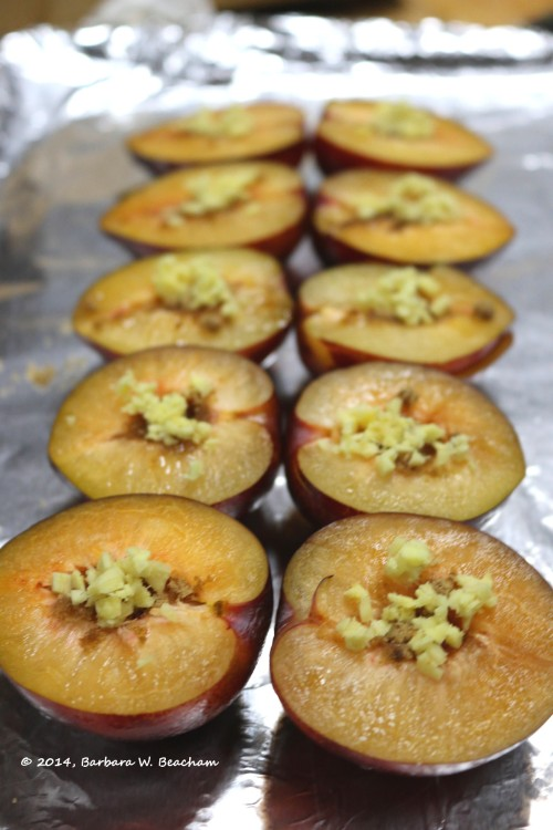Pluots with ginger and brown sugar