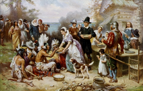 First Thanksgiving - Painting by Jean Leon Gerome Ferris (1899)