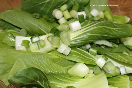 Bok choy and green onions will go into the soup together