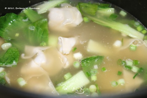 Green onions, bok choy and wontons added