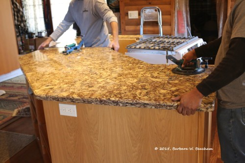 Setting the countertop down