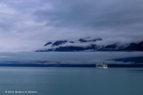 Following another cruise ship into Glacier Bay