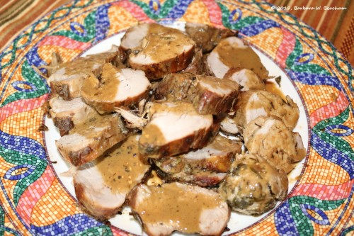 Sliced pork with gravy