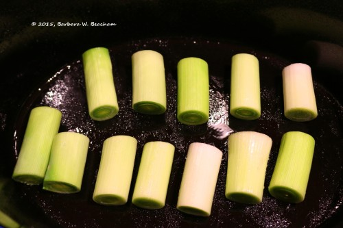 Leeks are added to the crock pot